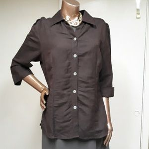Like New East 5th Linen Button Down Blouse